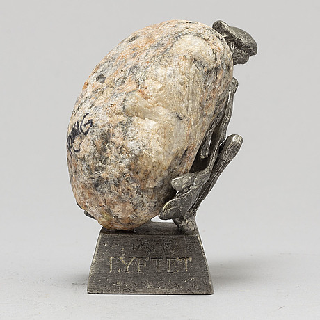 Henry gustafsson, stone and pewter sculpture, signed, 1983.