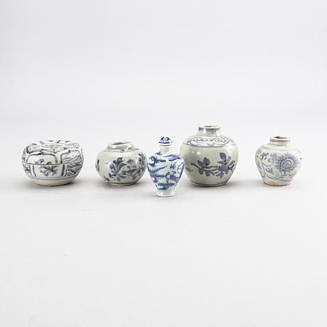 A set of miniature jars and a bowl, south east asia and china.