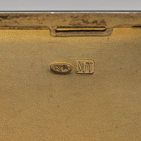 A russian early 20th century parcel-gilt silver cigarette case, unidentified makers mark, moscow 1908-1917.