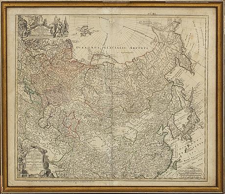Johann matthias hase & homan heirs - karta, 'imperii russici et tatariae universal' 1739.