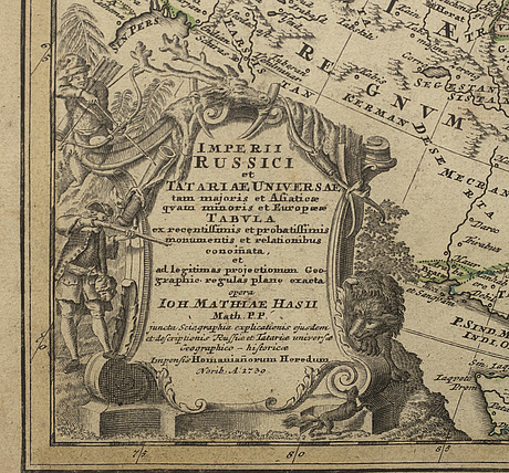 A 1739 johann hase and homann heirs, map of russia and asia, 'imperii russici et tatariae universal'