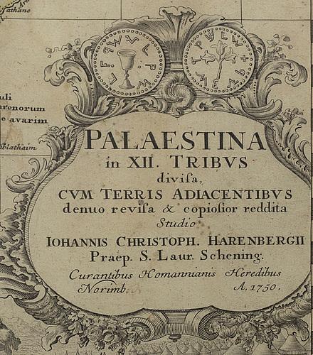 Johann christph harenberg   map,  'palaestina in xii tribvs divisa cvm terris adiacentibvs...' 1750