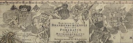 MatthÄus seutter - map, 'marchionatus brandenburgensis, ducatus pomeraniae et ducatus mecklenburgicus ', augsburg 1730.