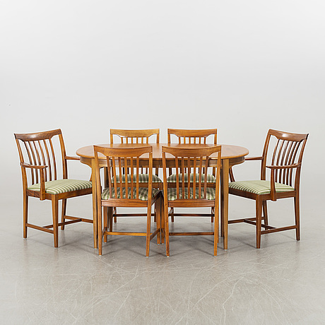 A table and 6 chairs by svante skogh, sweden, second half of 20th century