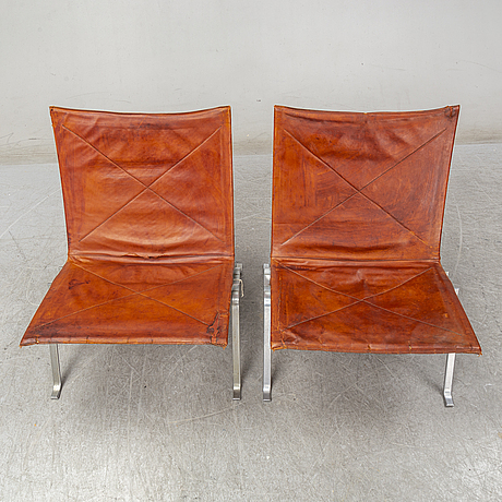 Poul kjaerholm,  a pair of pk 22 easy chairs, e kold christiensen, denmark, second half of the 20th century