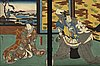 A pair of japanese colour woodcuts.