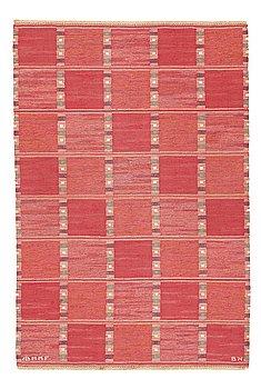 "211. Barbro Nilsson, A CARPET, ""Falurutan, röd Borås"", flat weave, ca 210 x 141 cm, signed AB MMF BN."