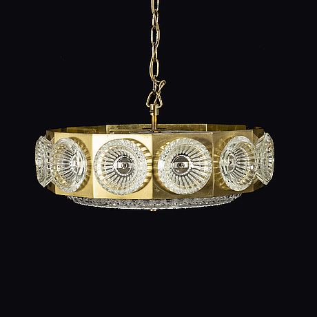 Carl fagerlund (probably) , pendant lamp, orrefors, second half of the 20th century.