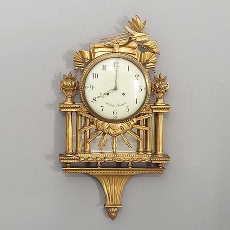 VÄggpendyl signerad anders rundelius stockholm (verksam 1786-1809) gustaviansk.
