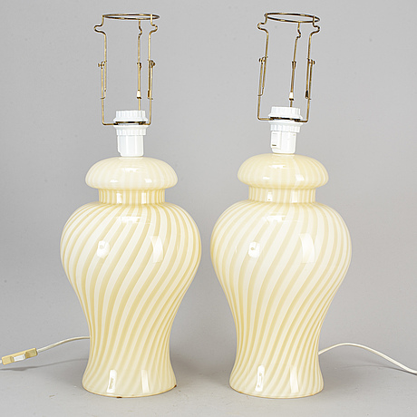 A pair of venitian glass table lights, murano, italy, late 20th century