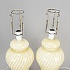 A pair of venitian glass table lights, murano, italy, late 20th century.