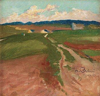 399. Helmer Osslund, Landscape, Grez-sur-Loing.