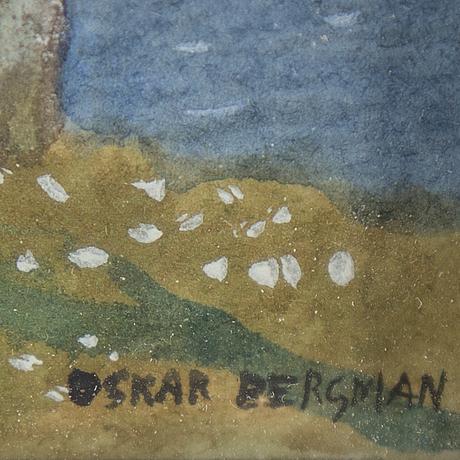Oskar bergman, watercolour, signed.