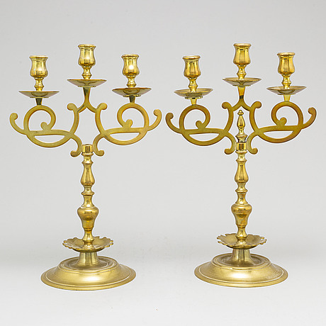 A pair of norwegian candelabra, hövik, 20th century.