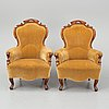 A pair of armchairs, second half of the 19th century.