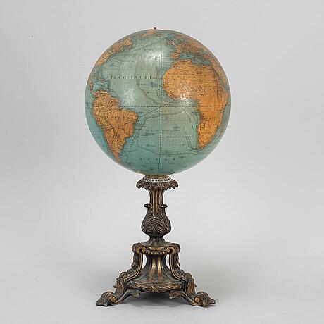 A miniature terrestrial globe, marked adami berlin verlag von dietrich reimer 1856,