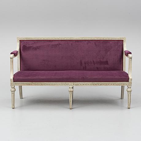 A late gustavian sofa, circa 1800.