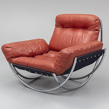 LENNART BENDER, A steel and leather easy chair. Designed in 1967.