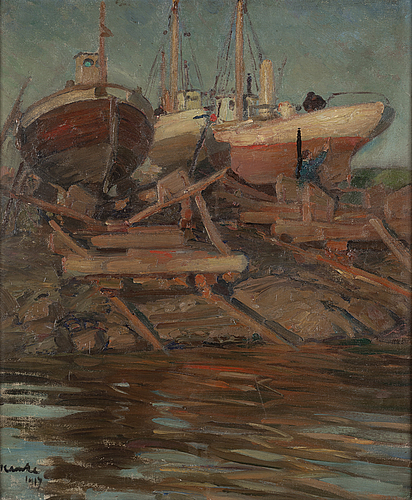 Ivar kamke, oil on canvas, signed and dated 1917.