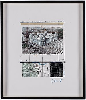 CHRISTO & JEANNE-CLAUDE, Offset print with fabric, signed in blue chalk.