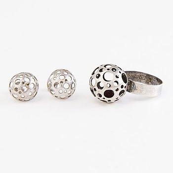 LIISA VITALI, Leppäkerttu Ring with earrings, silver, N.Westerback, Helsinki 1971.
