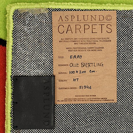 """Olle baertling, a carpet, """"erey"""", handtufted, baertling/asplund, ca 199 x 100,5 cm."""