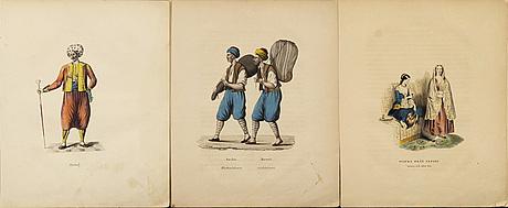 Johan hedenborg, 12 hand colored lithographes from the book  'turkiska nationens seder, bruk och klädedrägter', 1839