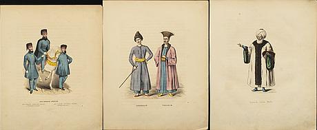 Johan hedenborg, 12 st handkolorerade litografiska blad ur 'turkiska nationens seder, bruk och klädedrägter', 1839.