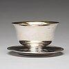 A swedish 19th century parcel-gilt silver sauce bowl, mark of johan petter grönvall, stockholm 1824.