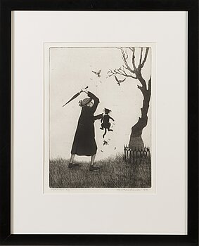 MANNO KALLIOMÄKI, etching, signed and dated 1973, numbered työvedos 5/5.