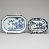 Two blue and white export porcelain serving dishes, qing dynasty, qianlong (1736-95).