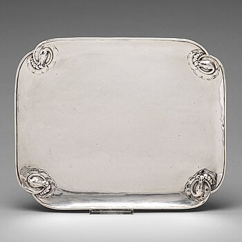 "151. Georg Jensen, a 830/1000 silver ""Blossom"" tray, Copenhagen 1920, Swedish import marks GAB F."