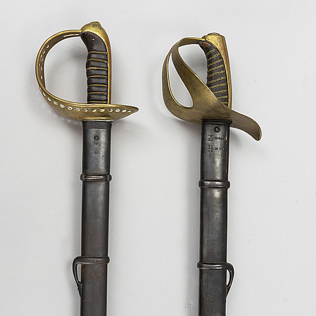 Two swedish swords, pattern 1854 and 1893.