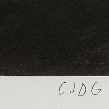Carl johan de geer, lithograph in colours, signed cjdg and numbered 238/295 in pencil.
