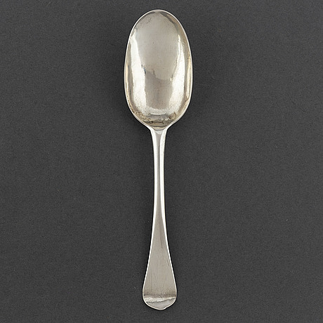 A silver rat tail spoon, norrköping, sweden before 1735