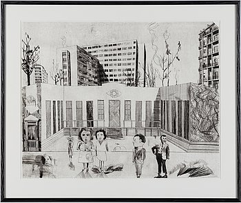 JOCKUM NORDSTRÖM, lithograph, 1999, on BFK Rives paper signed in pencil and numbered 21/140.