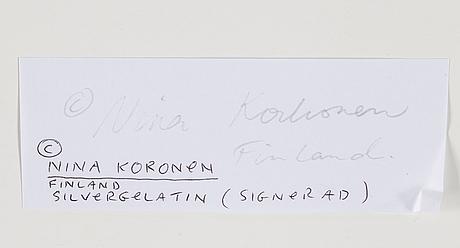 Nina korhonen, photograph signed nina korhonen on verso.