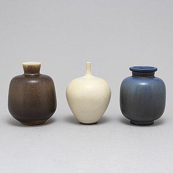 BERNDT FRIBERG, a set of three stoneware vases, Gustavsberg Studio 1964-1968.