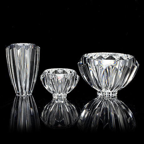 Erika lagerbielke, a glass 'zodiak' vase and two bowls from orrefors.