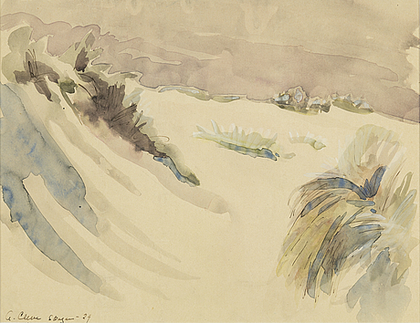 Agnes cleve, gouache. signed a cleve and dated skagen -29.