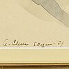 Agnes cleve, gouache. signerad a cleve och daterad skagen -29.