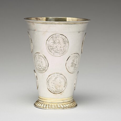 A baltic 18th century parcel-gilt silver beaker, mark of christopher dey, riga (1729-1748 (-59)).