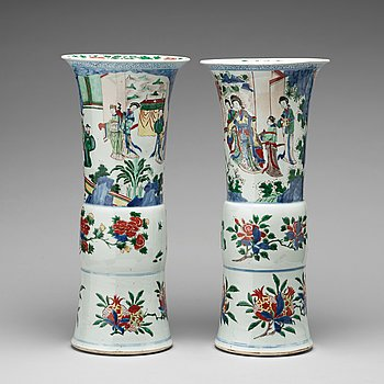 640. A matched pair of Gu-shaped wucai vases, Transition, 17th Century.