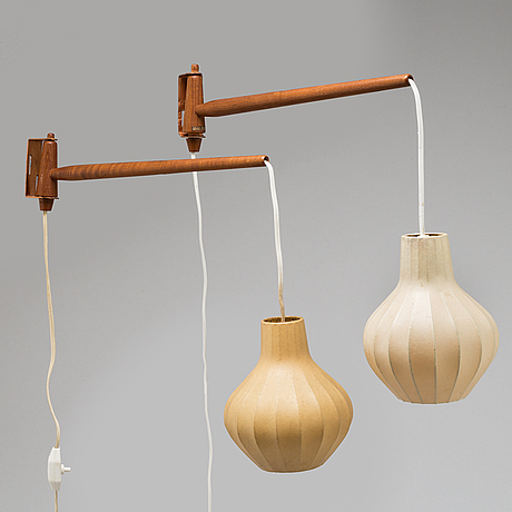 Hans-agne jakobsson, a pair of mid 20th century wall lamps.