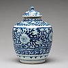 A blue and white jar, ming dynasty, 17th century.