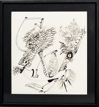 RAGNAR VON HOLTEN, ink and pencil on paper, signed.