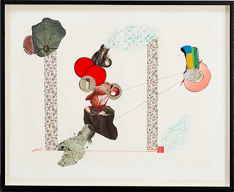 Ragnar von holten, collage and mixed media on paper, signed and dated -76.