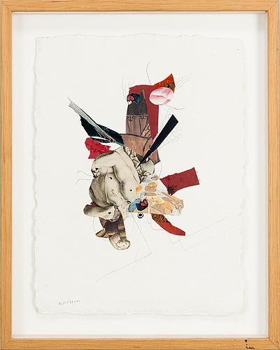 Ragnar von holten, mixed media and collage on paper, signerad.