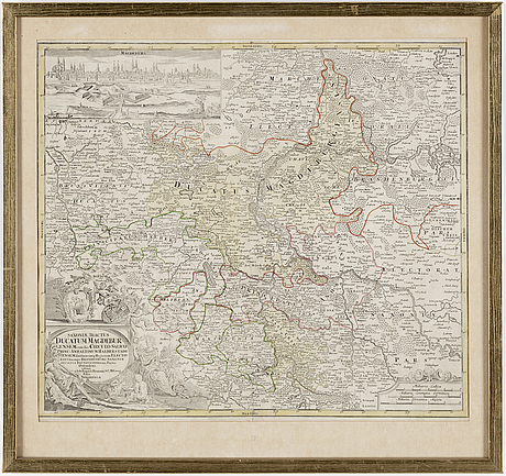 "Map,""duchy of magdeburg old antique map of saxony germany..."" by homann heris, ca 1720."