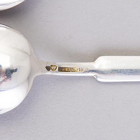 A set of six silver coffee spoons and seven silver cocktail spoons, finland 1950s.